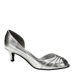 Touch Ups Womens Abby Silver Satin Peep/Open Toe Prom and Evening Shoes