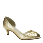 Touch Ups Womens Abby Gold Satin Peep/Open Toe Prom and Evening Shoes
