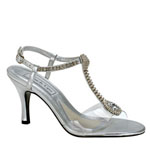 Touch Ups Womens Kristal Silver Beaded Sandals Prom and Evening Shoes