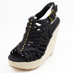 Wild Diva Womens POST-03 Black PU Jersey Wedge Casual Shoes