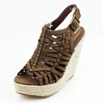 Wild Diva Womens POST-03 Taupe PU Jersey Wedge Casual Shoes
