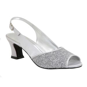 Lava Shoes Womens Dawn Silver Glitter Peep/Open Toe Prom and Evening Shoes
