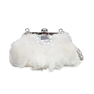Coloriffics Womens Feather Bag Ivory Taffeta Sandals Wedding Handbags