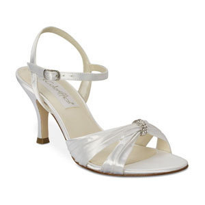 Coloriffics Womens Tori White Satin Sandals Prom and Evening Shoes