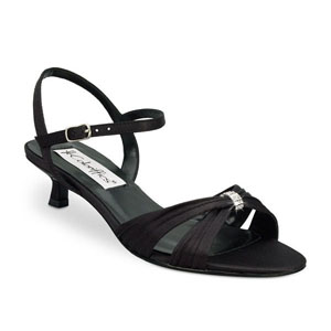 Coloriffics Womens Andie Black Satin Sandals Wedding Shoes