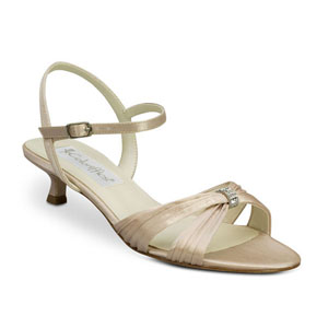 Coloriffics Womens Andie Latte Satin Sandals Wedding Shoes