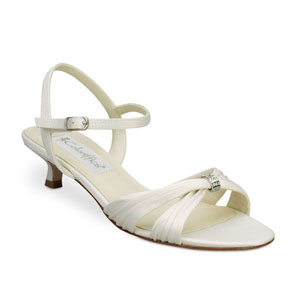 Coloriffics Womens Andie Ivory Satin Sandals Wedding Shoes