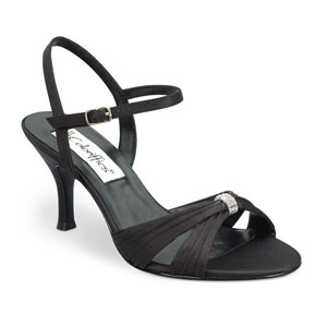 Coloriffics Womens Tori Black Satin Sandals Prom and Evening Shoes