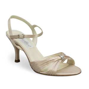 Coloriffics Womens Tori Latte Satin Sandals Prom and Evening Shoes