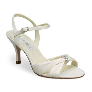 Coloriffics Womens Tori Ivory Satin Sandals Prom and Evening Shoes