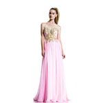 Johnathan Kayne Womens 502 PinkGold Chiffon  Prom Dresses