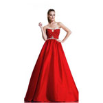 Johnathan Kayne Womens 511 Red Satin  Prom Dresses