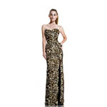 Johnathan Kayne Womens 515 GoldBlack Sequin  Prom Dresses