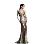 Johnathan Kayne Womens 537 Gold Sequin  Prom Dresses