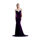 Johnathan Kayne Womens 567 Purple Velvet  Prom Dresses
