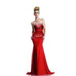 Johnathan Kayne Womens 579 Red Chiffon  Prom Dresses