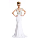Johnathan Kayne Womens 400 White Chiffon  Prom Dresses