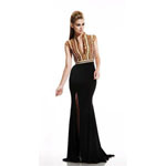 Johnathan Kayne Womens 484 Gold/Black Synthetic  Prom Dresses
