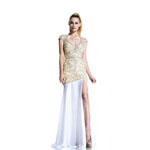 Johnathan Kayne Womens 510 NudeRed Chiffon  Prom Dresses