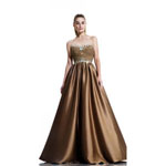 Johnathan Kayne Womens 511 Gold Satin  Prom Dresses