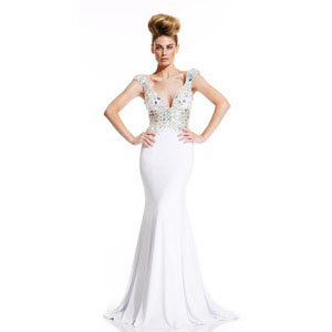Johnathan Kayne Womens 400 White Chiffon  Prom Dresses