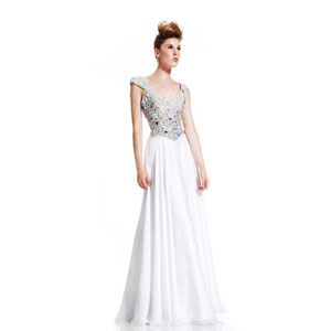 Johnathan Kayne Womens 405 White Chiffon  Prom Dresses