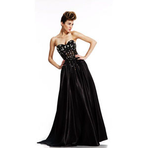 Johnathan Kayne Womens 416 Black Synthetic  Prom Dresses