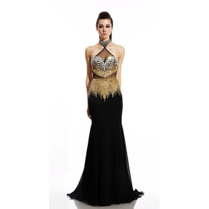 Johnathan Kayne Womens 499 Black/Gold Synthetic  Prom Dresses