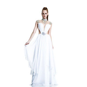 Johnathan Kayne Womens 506 White Chiffon  Prom Dresses