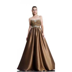 Johnathan Kayne Womens 511 Gold Satin  Prom Dresses