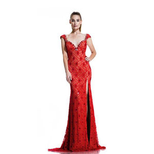 Johnathan Kayne Womens 535 Red Lace  Prom Dresses