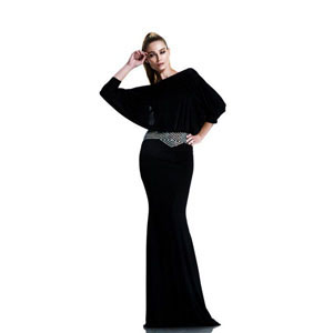 Johnathan Kayne Womens 539 Black Jersey  Prom Dresses