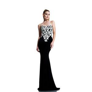 Johnathan Kayne Womens 541 Black Jersey  Prom Dresses
