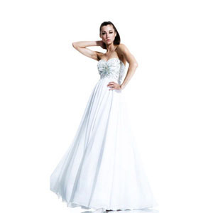 Johnathan Kayne Womens 548 White Chiffon  Prom Dresses