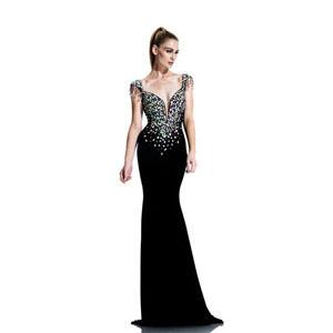 Johnathan Kayne Womens 560 Black Velvet  Prom Dresses