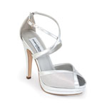 Dyeables Womens Vegas Silver Patent Peep/Open Toe Prom and Evening Shoes