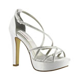 Dyeables Womens Taylor White Satin Platforms Wedding Shoes