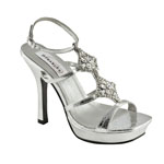 Dyeables Womens Nola Silver Beaded Platforms Prom and Evening Shoes