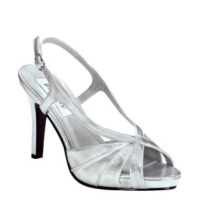 Dyeables Womens Aliyah SilverMetallic Satin Sandals Wedding Shoes