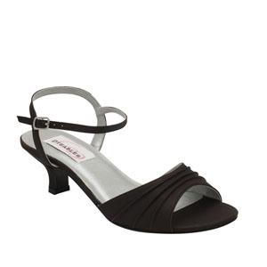 Dyeables Womens Brielle Black Satin Sandals Wedding Shoes