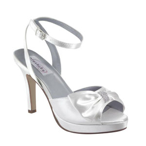 Dyeables Womens Brit White Satin Platforms Wedding Shoes