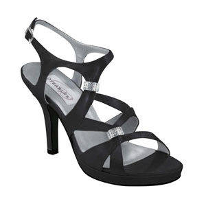 Dyeables Womens Claire Black Satin Platforms Prom and Evening Shoes