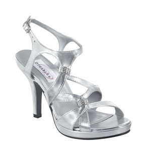 Dyeables Womens Claire Silver Metallic Synthetic Platforms Prom and Evening Shoes