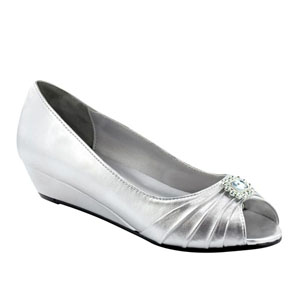 Dyeables Womens Anette Silver Satin Pumps Wedding Shoes