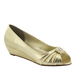 Dyeables Womens Anette Gold Satin Pumps Wedding Shoes