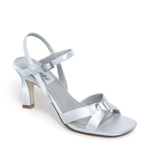 Dyeables Womens Majesty White Satin Sandals Wedding Shoes