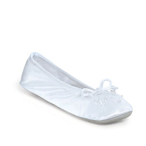 Dyeables Womens Finale White Satin Ballet Wedding Shoes