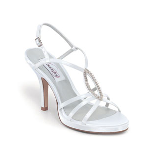 Dyeables Womens Holly White Satin Sandals Wedding Shoes