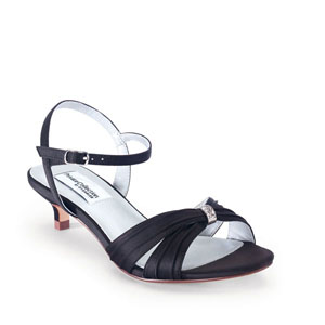 Dyeables Womens Fiesta Black Satin Sandals Prom and Evening Shoes