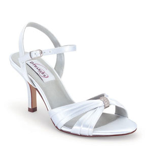 Dyeables Womens Natalie White Satin Sandals Prom and Evening Shoes